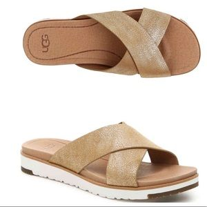 UGG Kari Gold Metallic Slides Sandals Shoes
